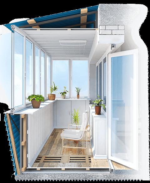 холодное остекление балкона с отделкой
