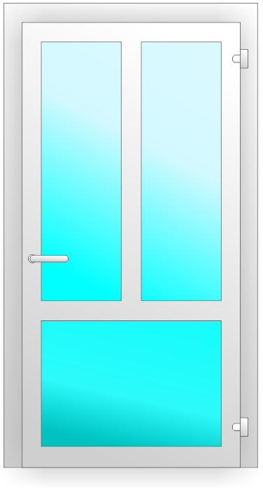 ПВХ дверь с двумя инпостами